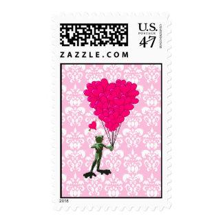 Funny frog cartoon & pink heart on damask postage