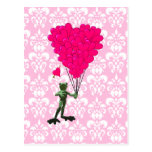 Funny frog cartoon & pink heart on damask postcard