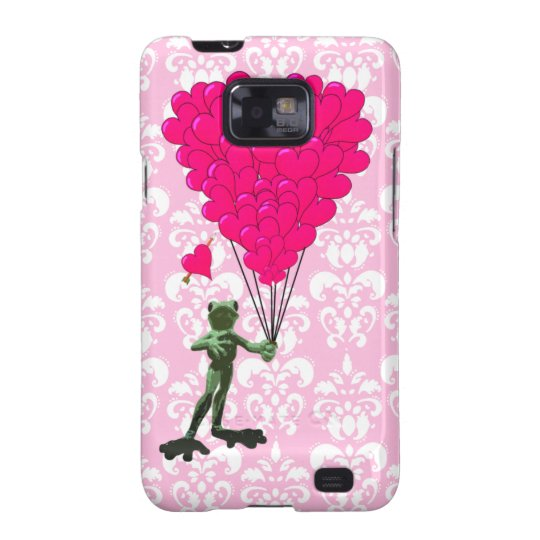 Funny frog cartoon & pink heart on damask samsung galaxy SII case