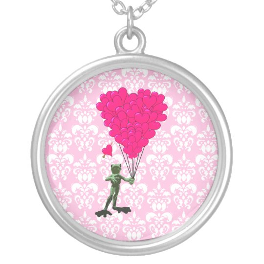 Funny frog cartoon & pink heart on damask silver plated necklace