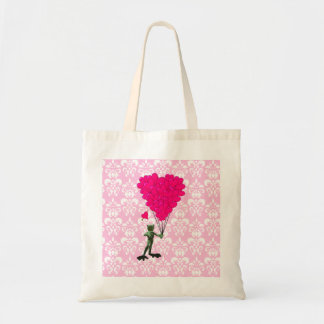 Funny frog cartoon & pink heart on damask tote bag