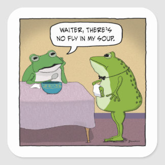 Funny Frog Complains About No Fly In My Soup Square Sticker