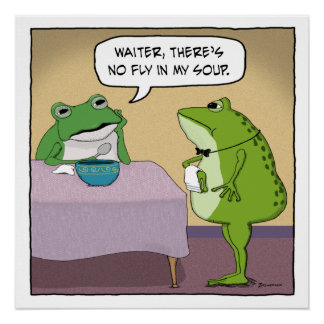 Funny Frog Complains No Fly In My Soup Poster