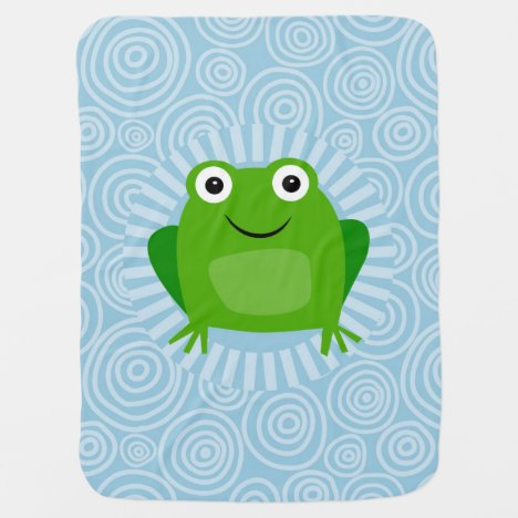 Funny Frog - Cute Froggy On Blue Baby Blanket