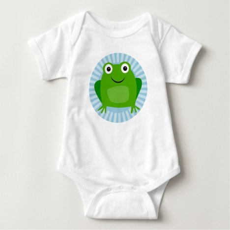 Funny Frog - Cute Froggy On Blue Baby Bodysuit