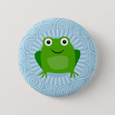 Funny Frog - Cute Froggy On Blue Button