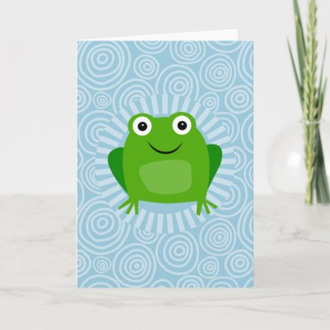 Funny Frog - Cute Froggy On Blue Card