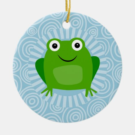 Funny Frog - Cute Froggy On Blue Ceramic Ornament
