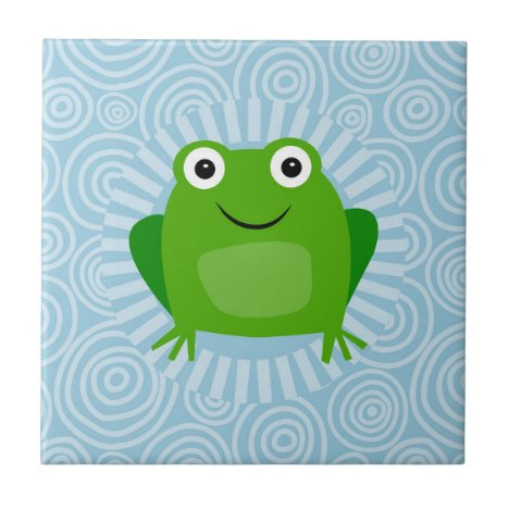 Funny Frog - Cute Froggy On Blue Ceramic Tile