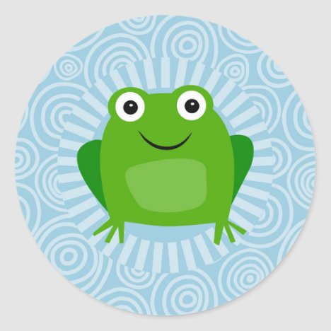 Funny Frog - Cute Froggy On Blue Classic Round Sticker
