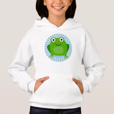 Funny Frog - Cute Froggy On Blue Hoodie