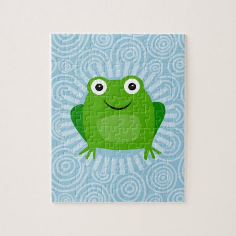 Funny Frog - Cute Froggy On Blue Jigsaw Puzzle