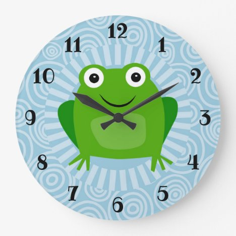 Funny Frog - Cute Froggy On Blue Large Clock