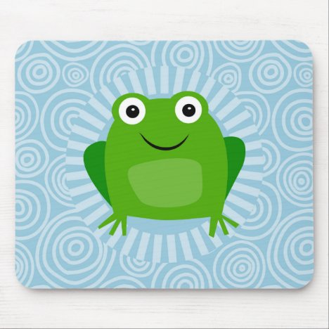 Funny Frog - Cute Froggy On Blue Mouse Pad