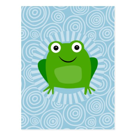 Funny Frog - Cute Froggy On Blue Postcard