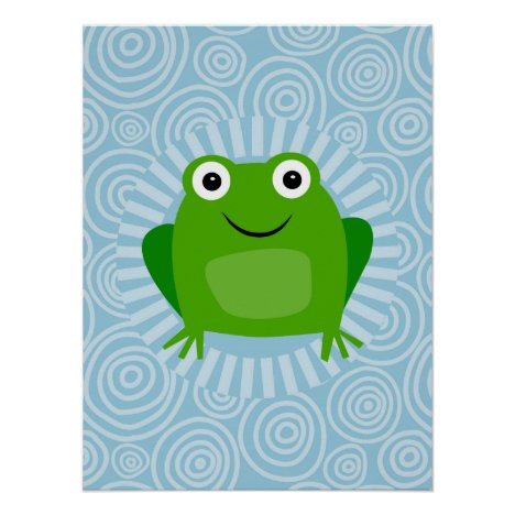 Funny Frog - Cute Froggy On Blue Poster