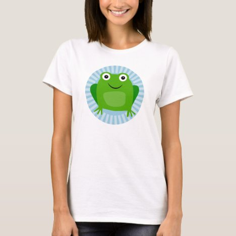 Funny Frog - Cute Froggy On Blue T-Shirt