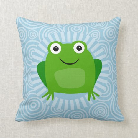 Funny Frog - Cute Froggy On Blue Throw Pillow