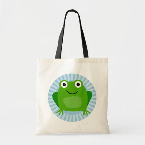 Funny Frog - Cute Froggy On Blue Tote Bag