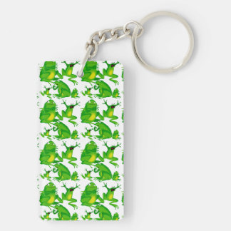 Funny Frog Emotions Angry Mad Curious Scared Frogs Double-Sided Rectangular Acrylic Keychain