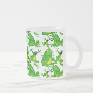 Funny Frog Emotions Mad Curious Scared Frogs Frosted Glass Coffee Mug