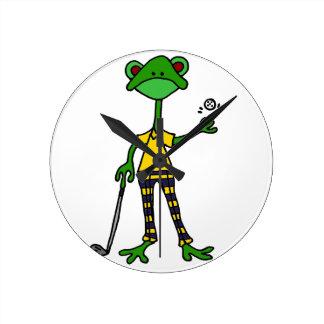 Funny Frog Golfing Art Round Clock