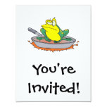 funny frog in a frying pan cartoon personalized announcement