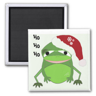 Funny Frog in a Santa Hat 2 Inch Square Magnet