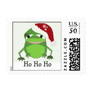 Funny Frog in a Santa Hat Postage