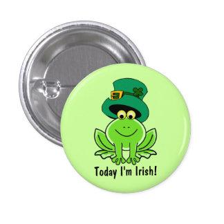 Funny Frog Leprechaun with Top Hat I'm Irish Button