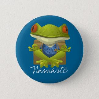 Funny Frog Meditating Cartoon Pinback Button