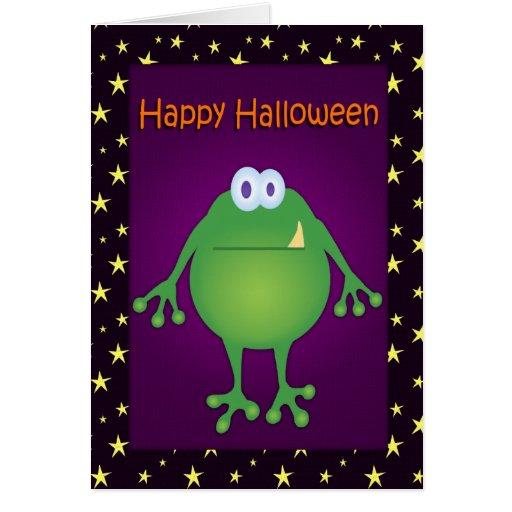 Funny Frog Monster Halloween Card
