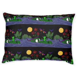 Funny Frog on Alligator Nose Folk Art Dog Bed