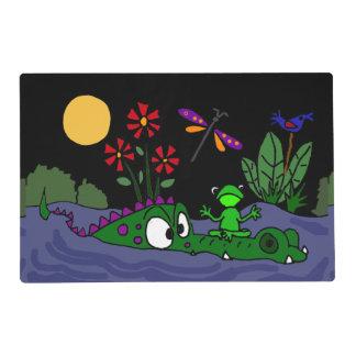 Funny Frog on Alligator Nose Folk Art Placemat