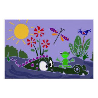 Funny Frog on Alligator Nose Folk Art Poster