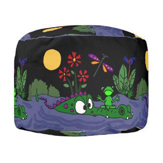 Funny Frog on Alligator Nose Folk Art Pouf Seat