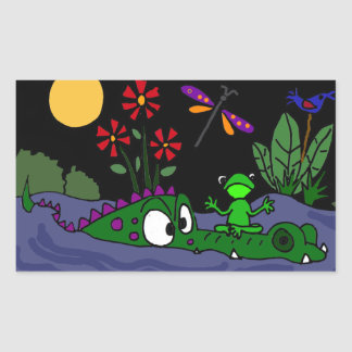 Funny Frog on Alligator Nose Stickers