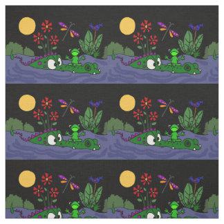Funny Frog on Alligator Snout Folk Art Fabric