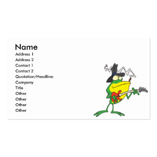 funny frog playing bass guitar froggy cartoon Double-Sided standard business cards (Pack of 100)