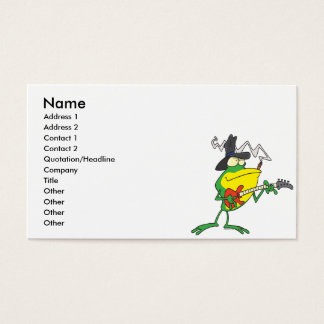 funny frog playing bass guitar froggy cartoon business card