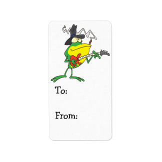 funny frog playing bass guitar froggy cartoon label