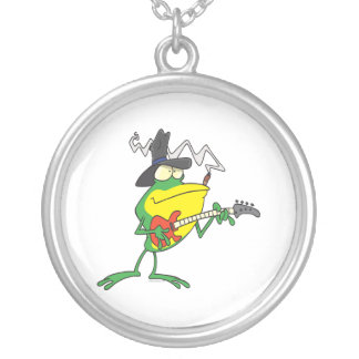 funny frog playing bass guitar froggy cartoon round pendant necklace
