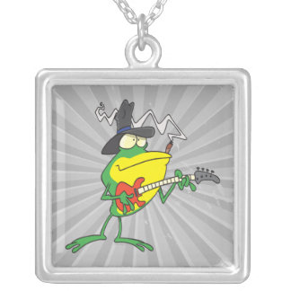 funny frog playing bass guitar froggy cartoon square pendant necklace