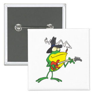 funny frog playing bass guitar froggy cartoon pinback button