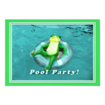 Funny Frog Pool Party Invitation