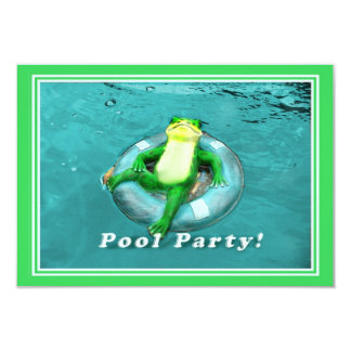 Funny Frog Pool Party 3.5x5 Paper Invitation Card