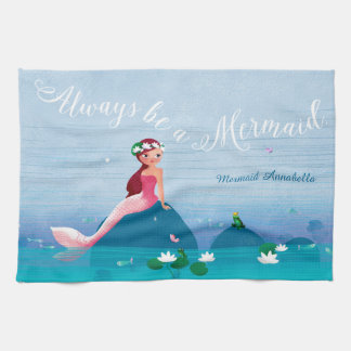 Funny Frog Prince and the Sweet Little Mermaid Hand Towels