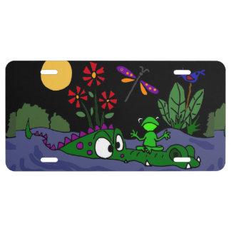 Funny Frog Sitting on Alligator Nose License Plate