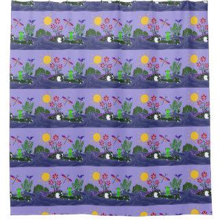 Funny Frog Sitting on Alligator Nose Shower Curtain