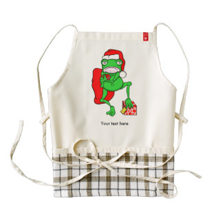 Funny Frog Wearing A  Red Santa Claus Hat Zazzle HEART Apron